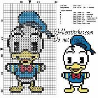 Donald Duck Disney Cuties free cross stitch pattern 30x52 7 colors