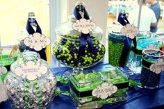 Things Festive Weddings & Events: Navy and Green Wedding Theme (festival savings jar) Blue Candy Buffet, Candy Table, Navy Green Weddings, Chartreuse Wedding, Candy Bar Wedding, Buffet Wedding, Future Mrs, Bridesmaid Luncheon, Bridesmaids