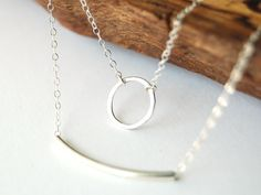 Kameli necklace - layered sterling silver eternity bar necklace, delicate simple silver necklace, modern minimal layering necklace, hawaii