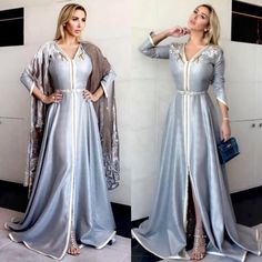 جويل بقفطان سلمى بن عمر Arab Fashion, Muslim Fashion, Modest Fashion, Fashion Outfits, Kaftan Style, Caftan Dress, Hijab Dress, Traditional Fashion, Traditional Dresses