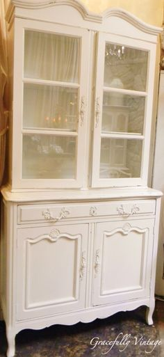 Sweet White Vintage Library Cabinet.