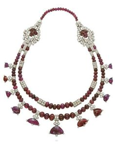 AN ART DECO RUBY AND beauty bling jewelry fashion