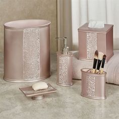 The Sinatra Bath Accessories glimmer with elegance. Made of resin, these handpainted pale blush accessories have a clear glass mosaic design. Blush Bathroom, Pink Bathroom Decor, Small Bathroom With Shower, Bathroom Sets, Rental Bathroom, Huge Shower, Bathroom Canvas, Master Bathroom, Modern Bathroom