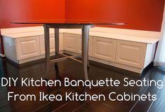 DIY Kitchen Banquette Seating using Ikea Cabinets! Banquette Seating In Kitchen, Banquette Bench, Kitchen Benches, Corner Banquette, Diy Kitchen Shelves, Ikea Kitchen Cabinets, Home Decor Kitchen, Kitchen Ideas, Kitchen Furniture