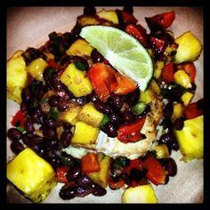 Pescitarian Living, Jamaican Jerk Mahi Mahi with pineapple, red bell pepper, mango and black bean salad on rice palif - MY NEW BLOG!