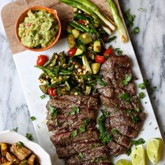 Skirt Steak and Grilled Veggies with Guacamole Recipe Main Dishes with ...