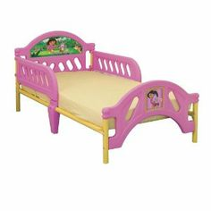 Nick Jr Kids Furniture - Dora The Explorer Toddler Bed by Delta. $89.99. Dora the Explorer decals on durable molded plastic toddler bed. High quality furniture styling with removable bed rails. Center leg for extra support. Uses standard-size crib mattress (not included, sold separately). Amazon.com                With its colorful images of Dora and her animal friends, this toddler bed sends a little explorer safely off to adventures in dreamland. Sized for sleepers t...