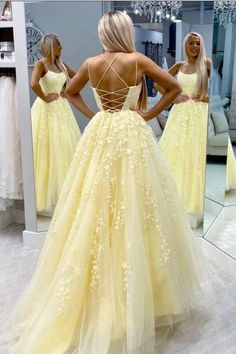 Yellow Lace Prom Dress Backless, Evening Dress ,Winter Formal Dress, Pageant Dance Dresses, Graduation School Party Go / friday dresses in new fashion · Friday Dresses · Online Store Powered by Storenvy Cute Prom Dresses, Prom Dresses For Teens, Dresses Short, Backless Prom Dresses, Pageant Dresses, Homecoming Dresses, Dress Prom, 15 Dresses, Quinceanera Dresses