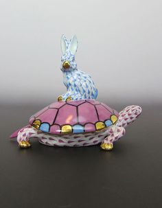 Herend Porcelain Kingdom Classic Small #Tortoise #Turtle & Hare #Rabbit 15830  #Herend