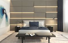 Master bedroom ideas: Moving away from purely scenic homes, this space makes a big impression with its illuminated bedroom wall texture.