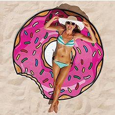 Befied Toalla de Playa Círculo Estera de Yoga Estampado de Fast-Food Toalla para Tomar el Sol al Aire Libre en Verano 150CM (Toalla Gigante Donut)