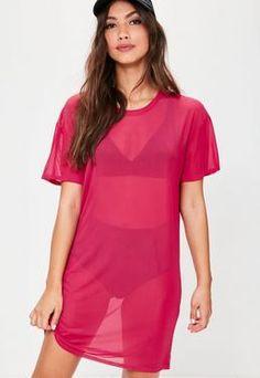 Pink Mesh T-Shirt Dress