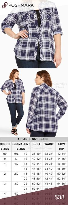 Torrid Plaid Challis Camp Shirt Plus Size NWT Brand New With Tags Plus Size   A camp shirt borrowed-from-the-boys (but wayyy better). Navy and white plaid keeps it casual, but the silky challis lends sophistication. Button tab sleeves, button down front, button tab breast pockets; try to get us to button up about this one. Rayon torrid Tops