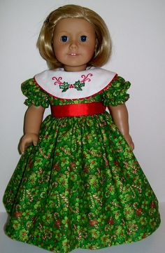 Embroidered Christmas dress fits American Girl by KathyAnneDesigns by christa Sewing Doll Clothes, American Doll Clothes, Girl Doll Clothes, Doll Clothes Patterns, Girl Dolls, Doll Patterns, Ag Dolls, Barbie Clothes, Dress Patterns