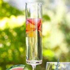 St-Germain Fizzy (184 calories)  1 cup halved, thinly sliced strawberries  1 cup chopped apricots or peaches  1 cup chilled St-Germain liqueur  1  bottle chilled prosecco  Put strawberries, apricots, and liqueur in a pitcher. Pour in prosecco, stir gently, and pour into Champagne flutes