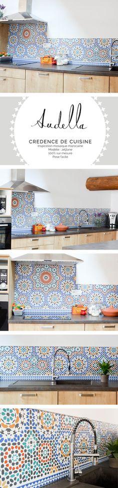 Crédence de cuisine imitation carreaux de ciment - inspiration mosaïque marocaines - Modèle Jeljlane - www.audella.fr - #cementtiles #tiles #tilesaddict #kitchenbacksplash #credence #pattern #graphic #cuisine #kitchen
