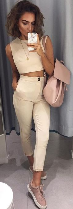 Beige Two Piece Co Ord Set                                                                             Source