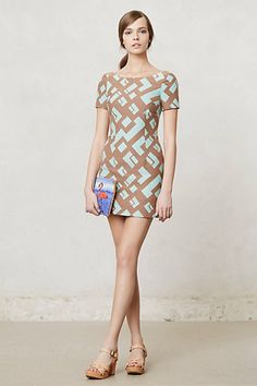 Kaivara Jacquard Shift #anthropologie. Love the pattern and color but its a little to short for my taste.