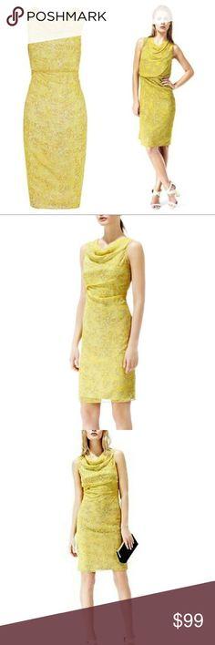 d01726fa7b7a7 Reiss Dress Silk Karina Mosaic Yellow Cowl Neck 8