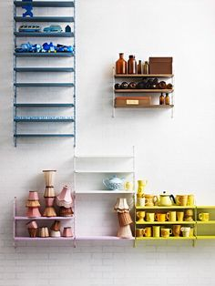 Hanging shelves - color coded // Interiors - Lo Bjurulf