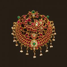 Gold Peacock Pendant with Dangly Pearls Indian Wedding Jewelry, Indian Jewelry, Bridal Jewelry, Ruby Jewelry, Pendant Jewelry, Diamond Jewelry, Gold Jewelry Simple, Temple Jewellery, Saree Jewellery