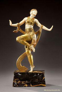 Art Deco gilded bronze figure of a dancer by Joe Descomps, France circa 1925.
