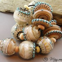 Magma Beads ~Seashells~ Handmade Lampwork Beads. #Lampwork