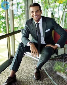 Love this suit. The olive green looks amazing - Ralph Lauren Black Label, $1890. Bradley Cooper - January 2014 GQ