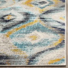 contemporary home accents Safavieh Monaco Vintage Watercolor Blue/ Multicolored Distressed Rug 7 x 9 Jute Rug, Woven Rug, Lohals, Watercolor Rug, Classic Rugs, Washable Rugs, Modern Area Rugs, Rug Material, Rectangle Shape