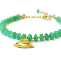 Chrysoprase Bracelet Green Bracelet Gold door jewelrybycarmal