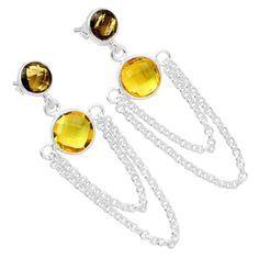 Citrine & Smokey Topaz 925 Sterling Silver Earrings Jewelry 6274E - JJDesignerJewelry
