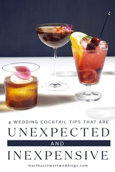 4 Wedding Cocktail Tips That Are Unexpected and Inexpensive | Martha Stewart Weddings - Surprising signature drinks make your day even more unique. Craft bartender Tom Richter serves up four ways to get creative with your wedding cocktails—without breaking the bank. Booze on a budget? We'll drink to that!