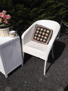 I love this Vintage Crochet Cushion - Lloyd Loom Lusty White Chair Conservatory Lounge Bedroom Vintage Retro Belvoir