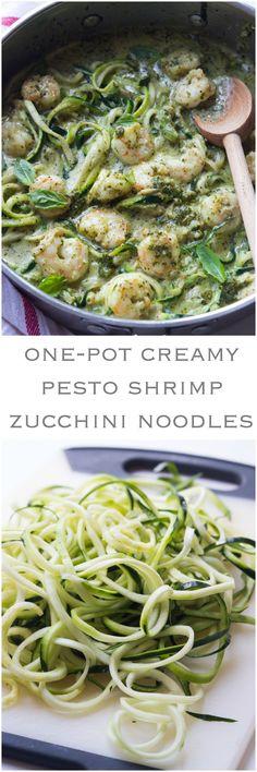 One-Pot Creamy Pesto Shrimp Zucchini Noodles - saucy shrimp in creamy pesto over tender crisp zucchini noodles. On the table in 30 min!   littlebroken.com @littlebroken