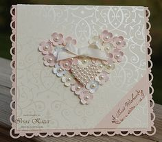 handmade Valentine/wedding card ... heart made of tiny flowers with pearl centers & smaller heart covered in pearls ... gorgeous!