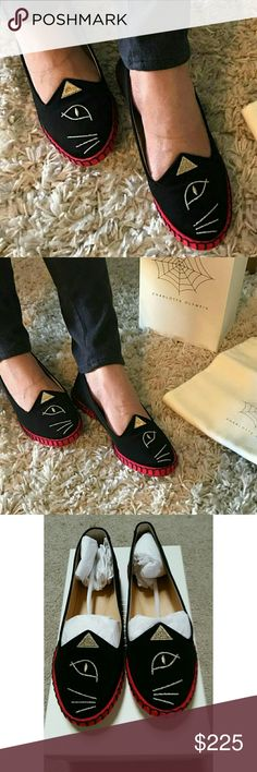 """JUST IN"" Cats Flat EUC  Worn 3 times No stain or rip Black Embroidery Surreal Cats Flats Comes with the original box  Dust bag included Charlotte Olympia Shoes Flats & Loafers"