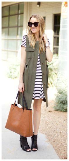 Striped Dress & a Long Military Jacket http://lifebylee.com/military-vest-stripes/