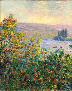 Flowerbeds at Vetheuil: 1881 by Claude Monet (Museum of Fine Arts, Boston, MA) - Impressionism