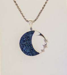 Blue Drusy moon with a spray of shooting stars in Sterling Silver