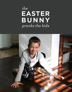 Easter prank. Instead of hiding eggs, the Easter bunny creates a maze of string.