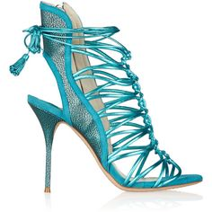 Sophia Webster Lacey metallic leather sandals ($292) ❤ liked on Polyvore featuring shoes, sandals, heels, blue, high heel shoes, heeled sandals, blue sandals, metallic sandals and blue high heel sandals