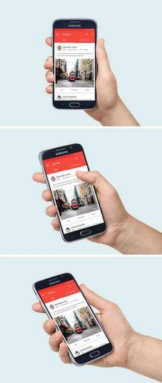 3 Mockup de Samsung Galaxy S6 en mano. Descárgalos!