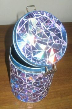DIY Mosaic tiled  Jar made with broken CDs/DVDs