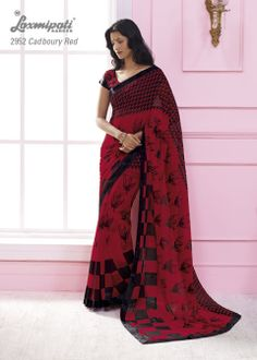 This Red & black color georgette material saree with black color border.