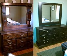 Dresser from my uncle+paint+new hardware= new bedroom furniture with the same sentimental value!  Total cost about 70 bucks.