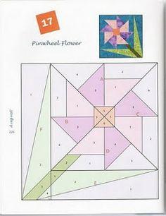 Pinwheel flower - Blog do Patchwork: Fundation