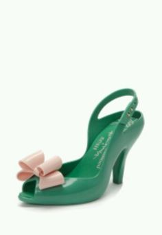 Vivienne Westwood Green/Pink Lady Dragon Shoes with Bow Buy Shoes, Me Too Shoes, Vivienne Westwood Shoes, Accessorize Fashion, High Class Fashion, Plastic Shoes, Melissa Shoes, Green Shoes, Pretty Shoes