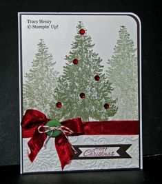 Beautiful Rhinestone Christmas TREE handmade Card Stampin Up.