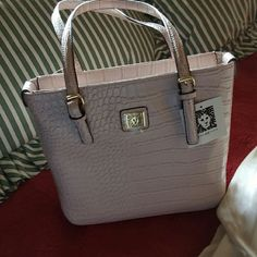 New with tags Anne Klein AK TOTE Snake pattern pink tote with 4 gold buckles Anne Klein Bags Totes