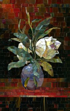 Series of bunch flowers in the mosaic technique using smalt, stained glass, glass mosaics.